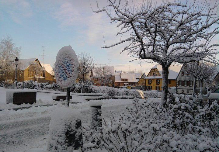 la Place du Marché sous la neige